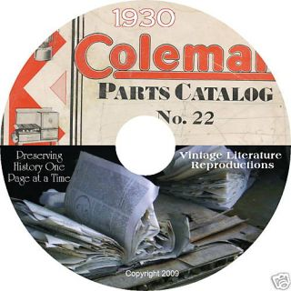 1930 Coleman Stove Lantern Parts Catalog on CD Sports History