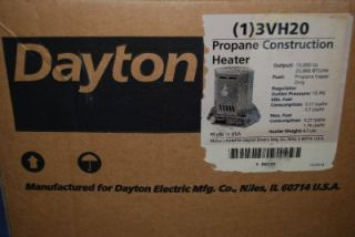 New Dayton Propane Construction Heater LP Gas Garage Space 25 000 BTU