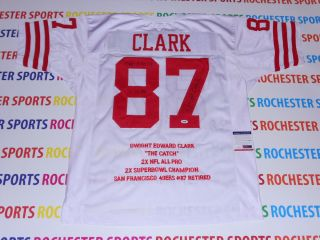 DWIGHT CLARK autographed signed San Francisco 49ers wht STAT Jersey