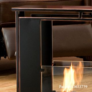 Indoor Outdoor GEL FUEL FIREPLACE Metal w/Copper Accent & Glass Patio