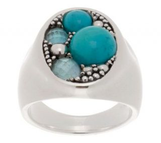 Michael Dawkins Multi Gemstone and Sterling Granulation Oval Ring