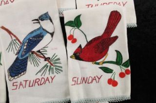 Decor Days of the Week Hand Towels Painted Songbirds 7 Complete