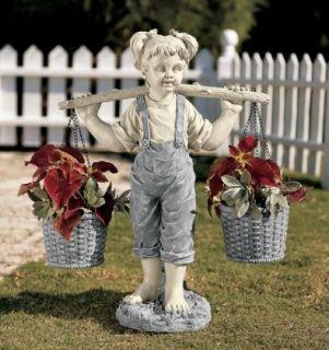 Little Flower Girl Garden Sculpture Patio Planter Statue