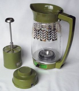 Sunbeam Glass w Gold Leaf Percolator Coffee Maker No Cord Lever