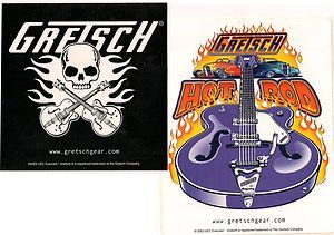 Collectible Decals/Stickers GRETSCH Hot Rods & Guitars Skull & Crossed
