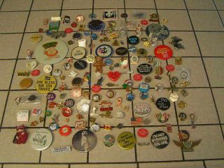 154 ASSORTED PINBACK LAPEL BUTTONS COLLECTOR PINS QUICK SHIPPING