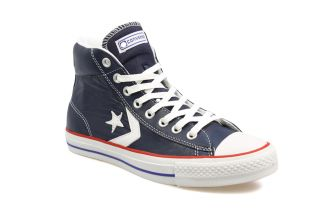Converse Star Player Ev Mid Navy Blue and Red Leather Trainers