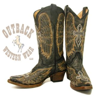 Corral Teen Cross Wings Boots A1029