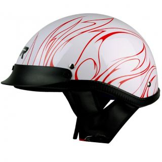 XL XXL PGR B31 Convict White Red Motorcycle Dot Half Helmet