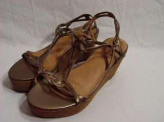 Corso Como Wedge Platform Sandal Boho Hippie Copper Leather Womens
