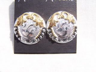Western Sterling Silver Plated Concho Earrings