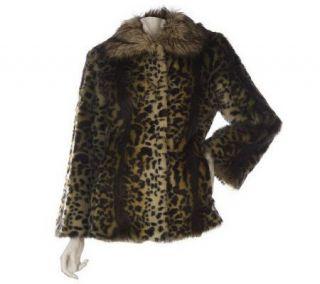 LOGO by Lori Goldstein Leopard Print Faux Fur Coat   A220239