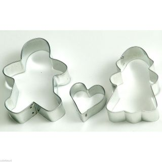 Metal Cookie Cutter Set Heart Gingerbread Boy and Girl Lovers