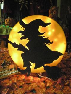 Animated Witch in Moon Lighted Halloween Display Prop