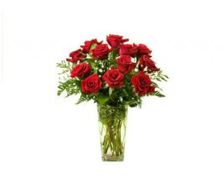One Dozen Long Stemmed Red Roses with Vase by ProFlowers —