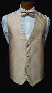 Mens Jean Yves Sand Fullback Vest Bow Tie Tuxedo Wedding Prom