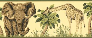 Leopard Giraffe Elephant Palm Trees Jungle Wild Animals Wallpaper