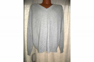 ALEXANDER JULIAN COLOURS GRAY CASHMERE V NECK SWEATER MEN SZ XL L