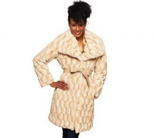 Dennis Basso Sculpted Faux Fur Draped Collar Coat with Belt   A229745