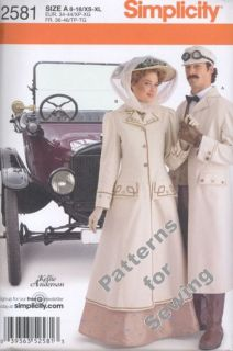 Pattern Simplicity Sewing Woman Men Costume Coat Circa 1910 XS XL New