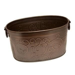 Large Copper colored Vine Imprint Beverage / Storage Tub with Handles
