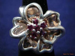 Carolyn Pollack Sterling Copper & Garnet Flower Ring   Sz. 7