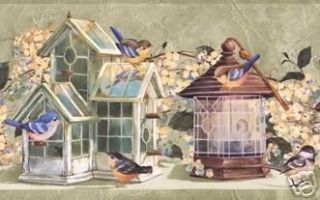 Cottage Chic Bird House & Bird Floral Wallpaper Border