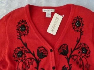~Michael Simon~Art to Wear Red/Black Embroidered Beaded Sweater~M/L