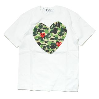 Comme Des Garcons Play × Ape Male Pattern Painting Heart T Shirt s