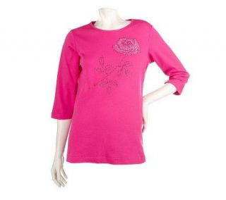 Quacker Factory Long Stem Rose Rhinestone 3/4 Sleeve Knit Top
