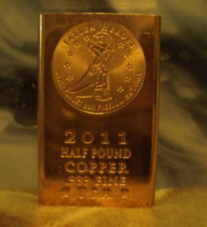 Fallen Heroes Military 1 2 Pound 999 Copper Bullion Bar Investment