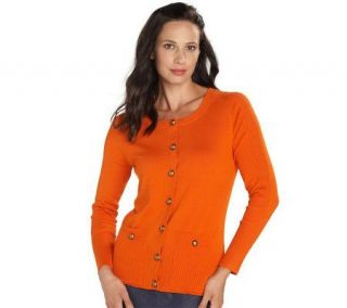 Isaac Mizrahi Live Long Sleeve Rib Trim Cardigan —