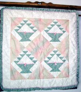 Handmade FLOWER BASKET Patchwork Baby Quilt or Wallhanging 38 Square w