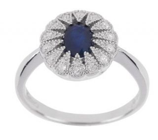 Titanic .55 ct Oval Sapphire and Diamond Accent Sterling Ring