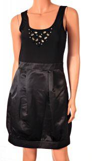 New $158 Max Cleo Sexy Womens Beaded Knit Satin Black Dress Sz 8