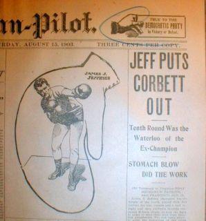 Boxing Championship Newspaper James Jeffries Defeat Jim Corbett