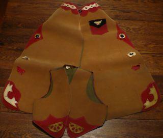 Vtg 50s Boys Suede Cowboy Vest Chaps Halloween Costume or