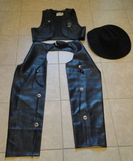 LG Western Halloween Costume Black Chaps Vest Badge Cowboy Hat