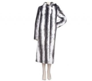 Dennis Basso Full Length Faux Fur Coat w/Shawl Collar and Cuffs