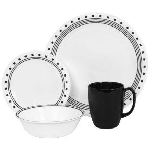 Corelle 16 PC Dinnerware Set City Block Plates Mug New