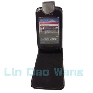 Black Leather Case Pouch for Samsung Corby 2 II S3850