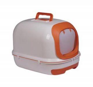 Pawhut Hooded Enclosed Cat Litter Box with Kitten Pan Scoop Orange