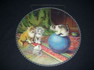 Antique Victorian Germany Flue Cover Kittens Kitty Cat