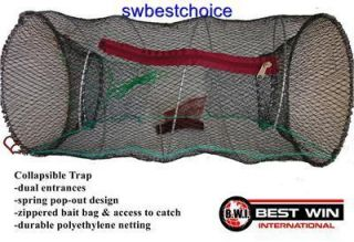 Crawdad Crab Lobster Prawn Trap Dual Entrance Fishing Net w Bait Bag