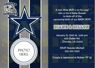 Dallas Cowboys Baby Shower or Birthday Digital Invitation U Print