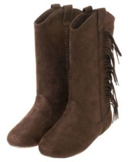 GYMBOREE GIRL BROWN COWGIRLS AT HEART FAUX SUEDE FRINGE BOOTS SHOES 11