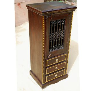 Solid Wood 3 Storage Drawers Kitchen Corner Cabinet w Wrought Iron