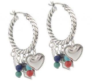Southwestern Sterling Gemstone Bead & Charm Hoop Earrings —
