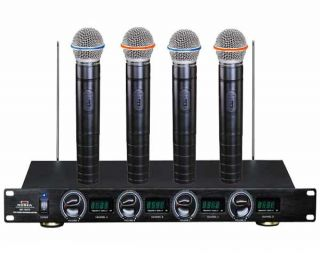 CH VHF Wireless 4 Hand Held Microphones Mic System