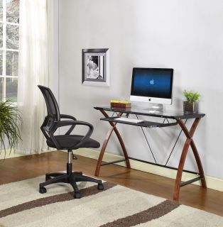 Wood Black Metal with Glass Top Workstation Computer Table New